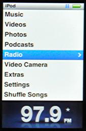 apple ipod nano 5g main menu radio