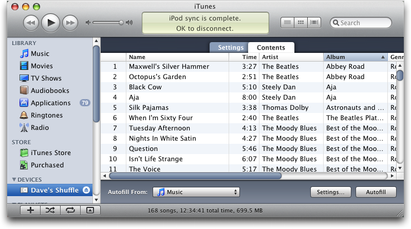 How can I customize how iTunes autofills my iPod Shuffle?