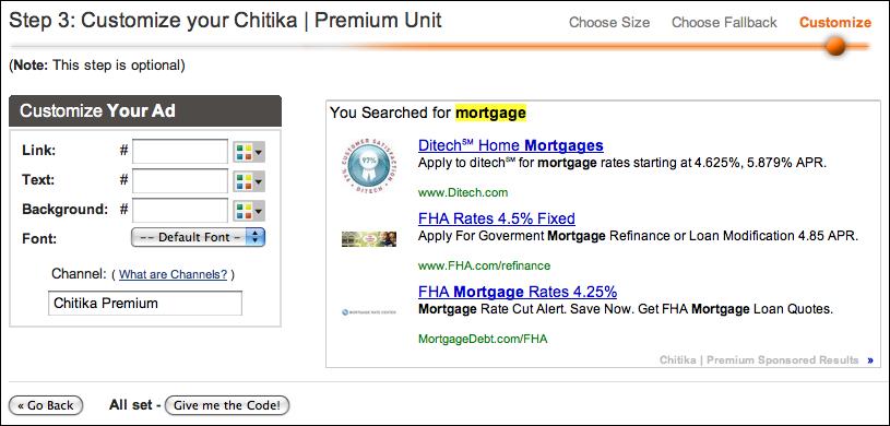 chitika publisher get code 3