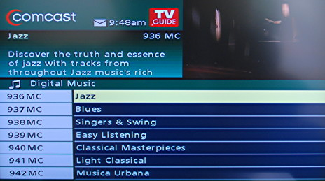 How do I find the free music channels on my Comcast cable