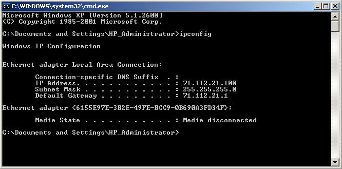 microsoft windows xp command prompt: ipconfig output