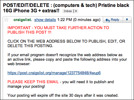 craigslist post to classifieds confirm email
