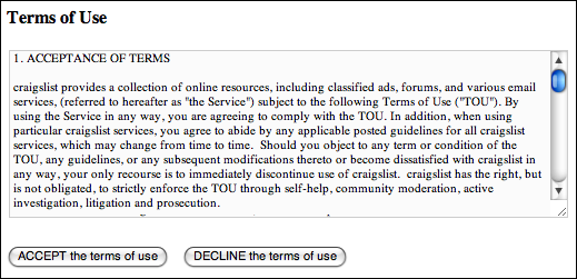 craigslist post to classifieds enter terms of use