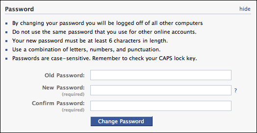 facebook settings account password change