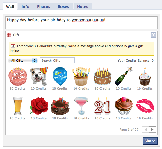 How do facebook gift credits work ask dave taylor facebook wall birthday gifts negle Images