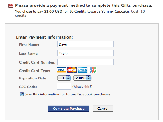 facebook wall gifts buy gift credits payment method