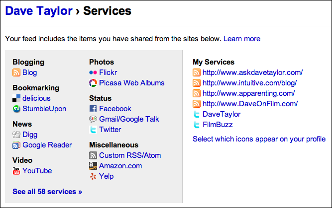 friendfeed profile services