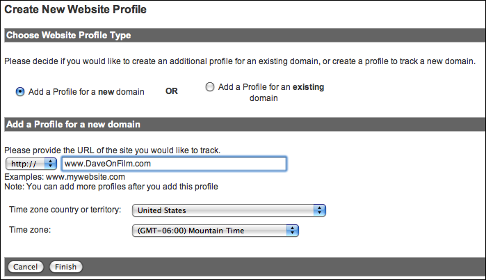 google analytics create website profile