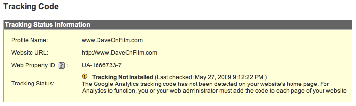 google analytics tracking code status