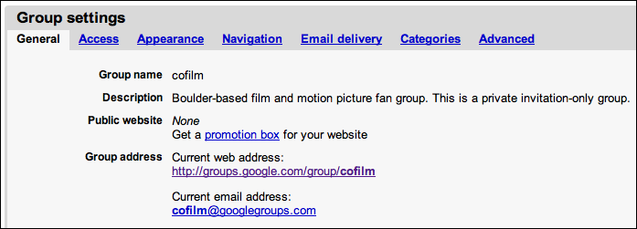 google groups group settings general