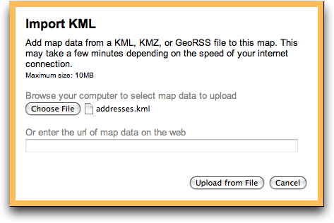 google maps import kml data file chosen