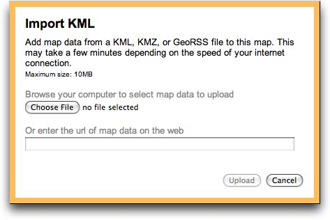 google maps import kml data file