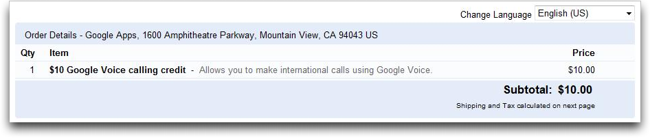 google voice calling credit google checkout