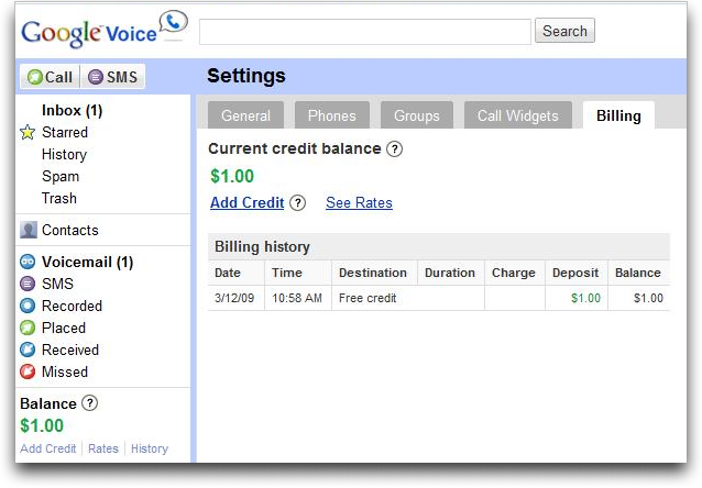 google voice settings balance
