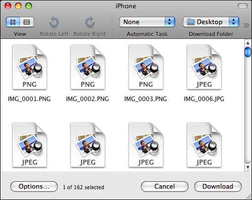image capture iphone no thumbnails