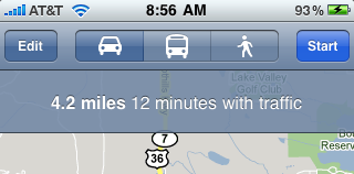 iphone driving directions estimated time