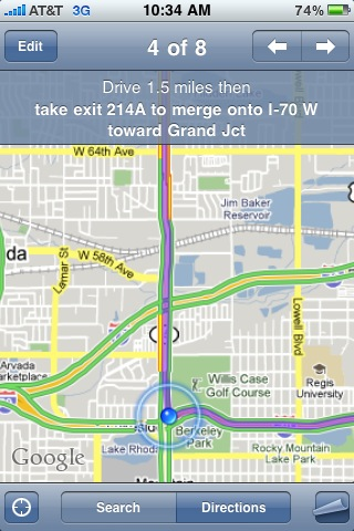 iphone driving directions map