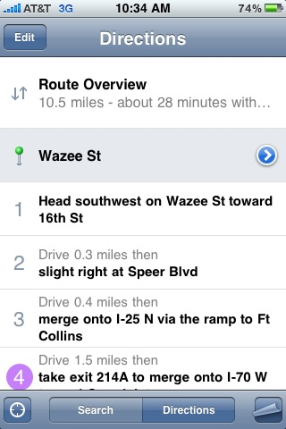 iphone driving directions turn by turn