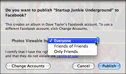 iphone publish to facebook 5
