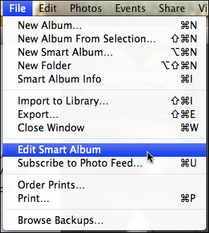 iphoto file edit smart album