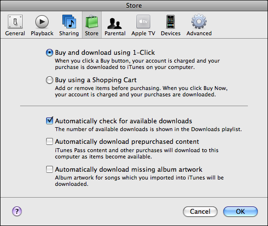 itunes preferences store