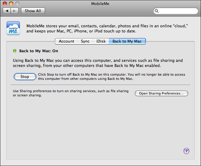mac os x system preferences mobile me setup back to my mac