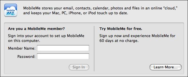 mac os x system preferences mobile me setup