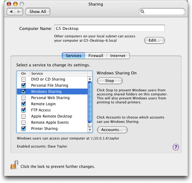 mac preferences sharing account enabled