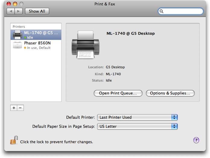 mac print fax show printers