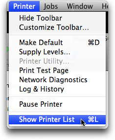 mac printer show printer list menu