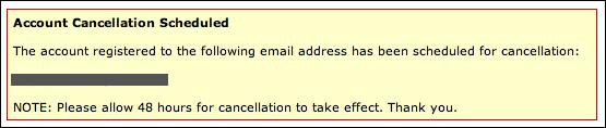 myspace account cancellation confirm 3