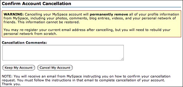 myspace account cancellation confirm
