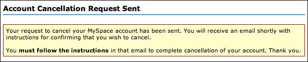 myspace account cancellation request sent