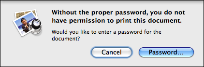 preview cannot print password