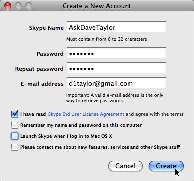 skype create new account