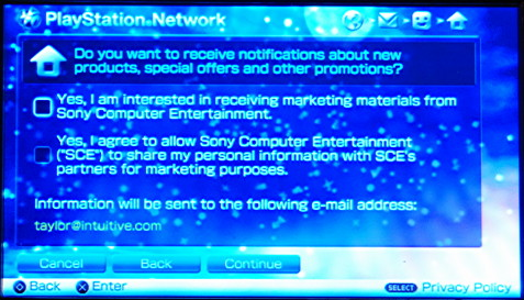how to change my email for playstation network