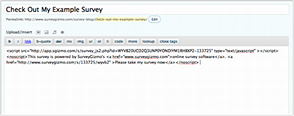 survey gizmo example survey code