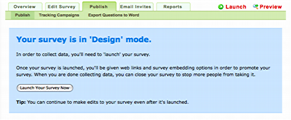 survey gizmo publish design mode