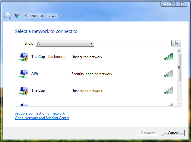 How do I connect to a new Wifi network in Windows Vista ...