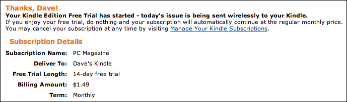 amazon kindle magazine subscribed