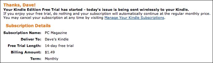 amazon kindle magazine subscribed