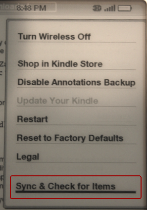 amazon kindle main system menu