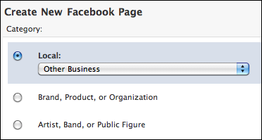 Starting with the need to define a category for the facebook fan page