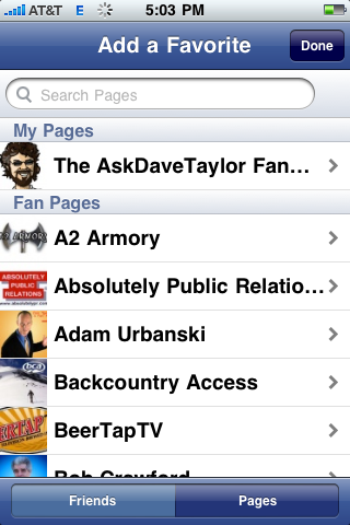 facebook iphone add favorite page