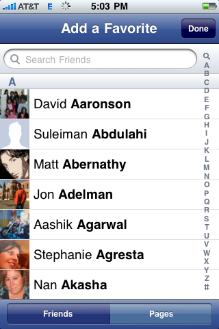 facebook iphone add favorite people