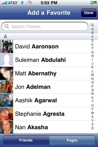 facebook iphone add favorite people
