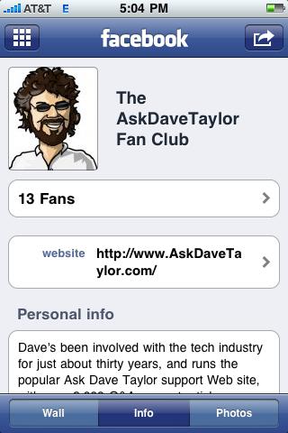 facebook iphone fan page info