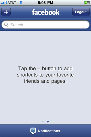 facebook iphone secondary screen blank