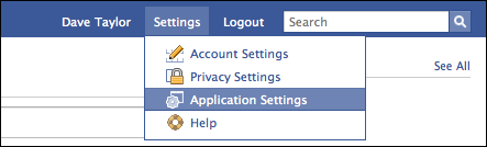 facebook nav settings application