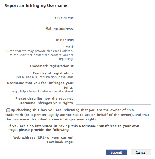 Report Facebook Page Intellectual Property